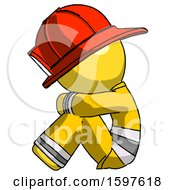 Yellow Firefighter Fireman Man Sitting With Head Down Facing Sideways Left