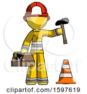 Yellow Firefighter Fireman Man Under Construction Concept Traffic Cone And Tools