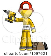 Yellow Firefighter Fireman Man Holding Drill Ready To Work Toolchest And Tools To Right