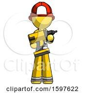 Yellow Firefighter Fireman Man Holding Large Drill