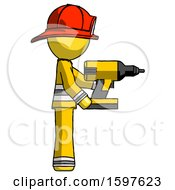 Yellow Firefighter Fireman Man Using Drill Drilling Something On Right Side