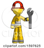 Yellow Firefighter Fireman Man Holding Wrench Ready To Repair Or Work