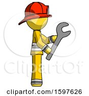 Yellow Firefighter Fireman Man Using Wrench Adjusting Something To Right