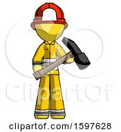 Yellow Firefighter Fireman Man Holding Hammer Ready To Work