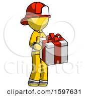 Yellow Firefighter Fireman Man Giving A Present