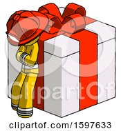 Yellow Firefighter Fireman Man Leaning On Gift With Red Bow Angle View