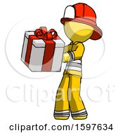 Yellow Firefighter Fireman Man Presenting A Present With Large Red Bow On It