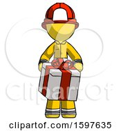 Yellow Firefighter Fireman Man Gifting Present With Large Bow Front View