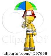 Yellow Firefighter Fireman Man Holding Umbrella Rainbow Colored