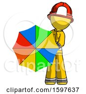 Yellow Firefighter Fireman Man Holding Rainbow Umbrella Out To Viewer