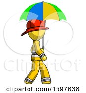 Yellow Firefighter Fireman Man Walking With Colored Umbrella