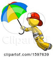 Yellow Firefighter Fireman Man Flying With Rainbow Colored Umbrella