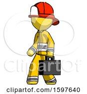 Yellow Firefighter Fireman Man Walking With Briefcase To The Left