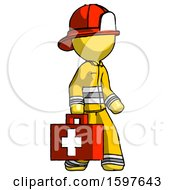 Yellow Firefighter Fireman Man Walking With Medical Aid Briefcase To Right