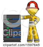 Poster, Art Print Of Yellow Firefighter Fireman Man With Server Rack Leaning Confidently Against It