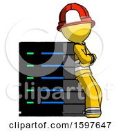 Yellow Firefighter Fireman Man Resting Against Server Rack Viewed At Angle