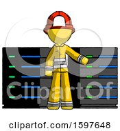 Yellow Firefighter Fireman Man With Server Racks In Front Of Two Networked Systems