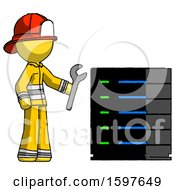 Yellow Firefighter Fireman Man Server Administrator Doing Repairs