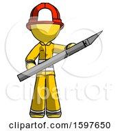 Yellow Firefighter Fireman Man Holding Large Scalpel