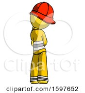 Yellow Firefighter Fireman Man Thinking Wondering Or Pondering Rear View
