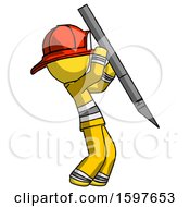 Yellow Firefighter Fireman Man Stabbing Or Cutting With Scalpel