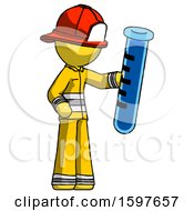 Yellow Firefighter Fireman Man Holding Large Test Tube