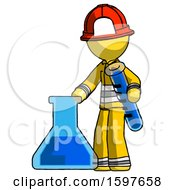 Yellow Firefighter Fireman Man Holding Test Tube Beside Beaker Or Flask