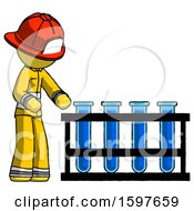 Yellow Firefighter Fireman Man Using Test Tubes Or Vials On Rack