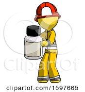 Yellow Firefighter Fireman Man Holding White Medicine Bottle