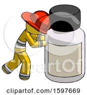 Yellow Firefighter Fireman Man Pushing Large Medicine Bottle