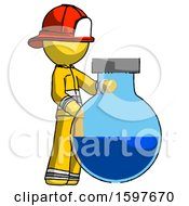 Yellow Firefighter Fireman Man Standing Beside Large Round Flask Or Beaker