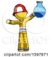 Yellow Firefighter Fireman Man Holding Large Round Flask Or Beaker