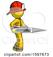 Yellow Firefighter Fireman Man Walking With Large Thermometer