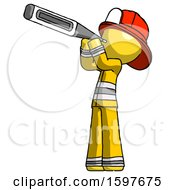 Yellow Firefighter Fireman Man Thermometer In Mouth