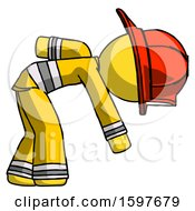 Yellow Firefighter Fireman Man Picking Something Up Bent Over