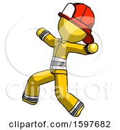 Yellow Firefighter Fireman Man Running Away In Hysterical Panic Direction Left