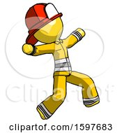Yellow Firefighter Fireman Man Running Away In Hysterical Panic Direction Right