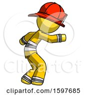 Yellow Firefighter Fireman Man Sneaking While Reaching For Something