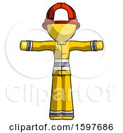 Yellow Firefighter Fireman Man T Pose Arms Up Standing