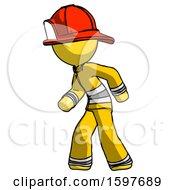 Yellow Firefighter Fireman Man Suspense Action Pose Facing Left