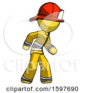 Yellow Firefighter Fireman Man Suspense Action Pose Facing Right