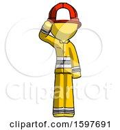 Yellow Firefighter Fireman Man Soldier Salute Pose