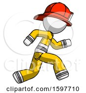 White Firefighter Fireman Man Running Fast Right