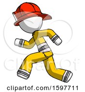 White Firefighter Fireman Man Running Fast Left