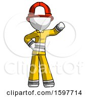 White Firefighter Fireman Man Waving Left Arm With Hand On Hip