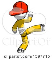 White Firefighter Fireman Man Kick Pose