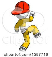 White Firefighter Fireman Man Kick Pose Start