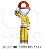 White Firefighter Fireman Man Soldier Salute Pose