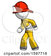 White Firefighter Fireman Man Suspense Action Pose Facing Left