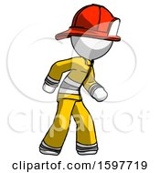 White Firefighter Fireman Man Suspense Action Pose Facing Right